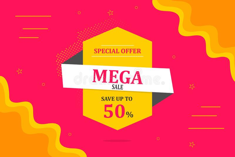 MEGA SALE banner, Special offer, 50% off royalty free stock image