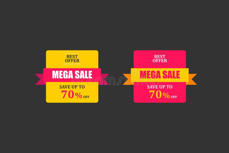 MEGA SALE banner, Special offer, 70% off royalty free stock image