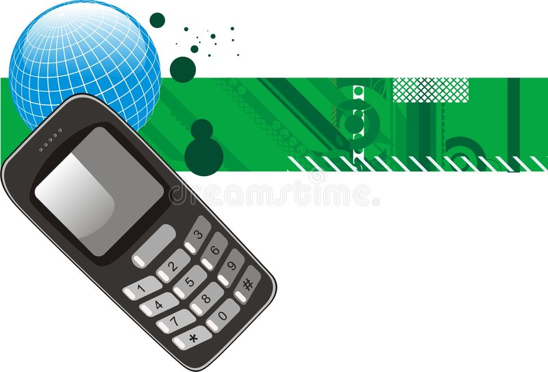 Mobile. Phone on a green background with globe stock illustration