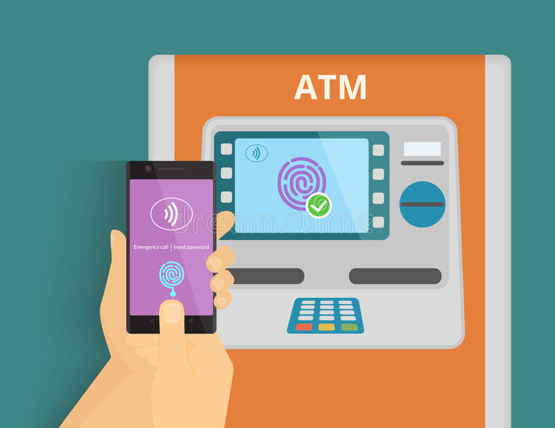 Mobile access to ATM. Illustration of mobile access to ATM via smartphone using fingerprint identification stock illustration