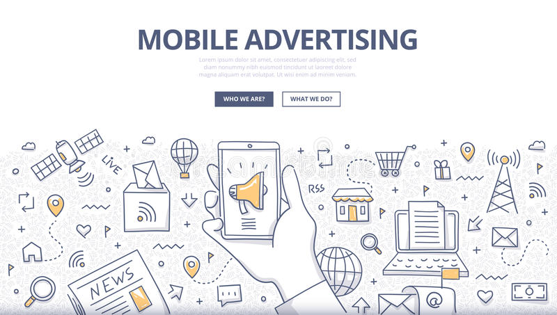 Mobile Advertising Doodle Concept stock illustration