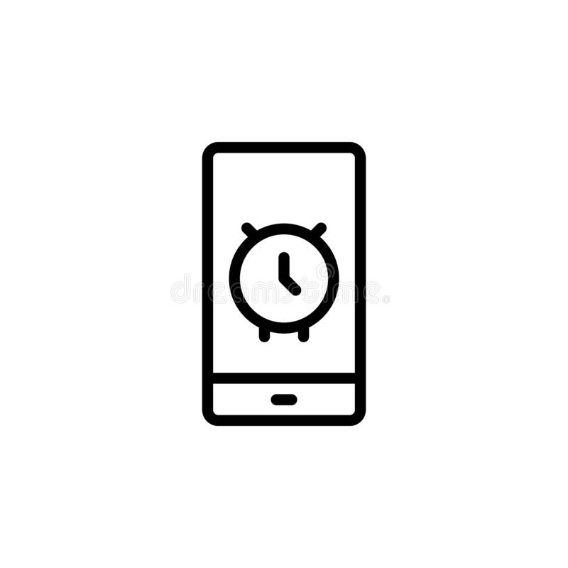 Mobile, alarm, time icon. Simple thin line, outline vector of Time icons for UI and UX, website or mobile application. On white background stock illustration