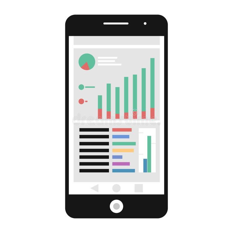 Mobile analytics icon stock illustration