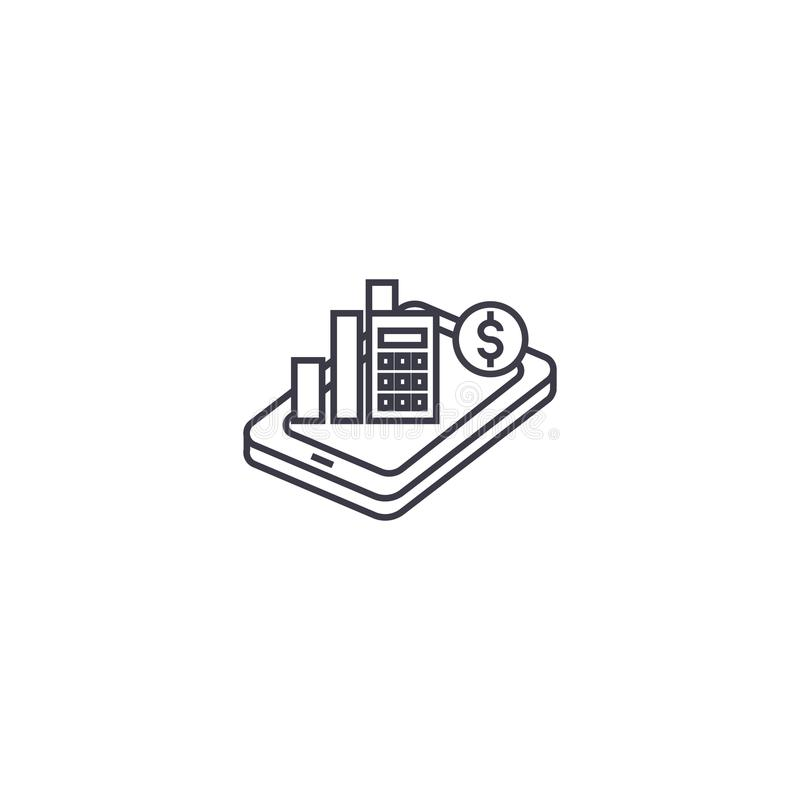 Mobile analytics vector line icon, sign, illustration on background, editable strokes royalty free illustration