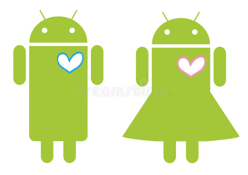 Mobile Android love couple. Illustration of Android young couple in love. Additional format download contains Adobe Illustrator .ai file stock illustration