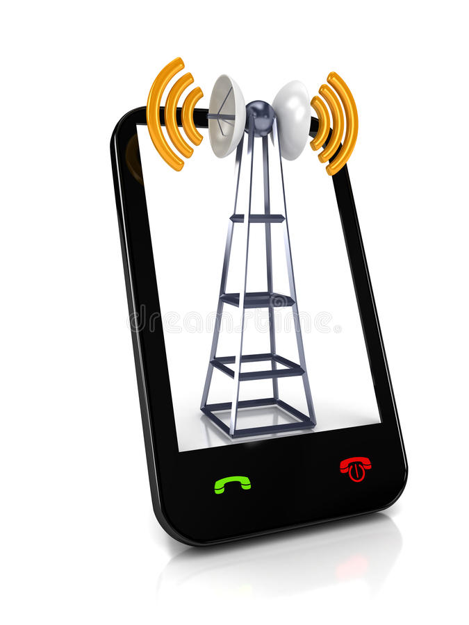 Download Mobile antena over white stock illustration. Image of network - 16553123