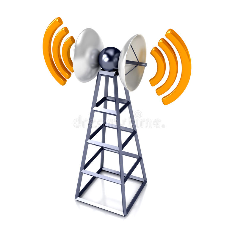 Download Mobile antena over white stock illustration. Image of information - 16553134