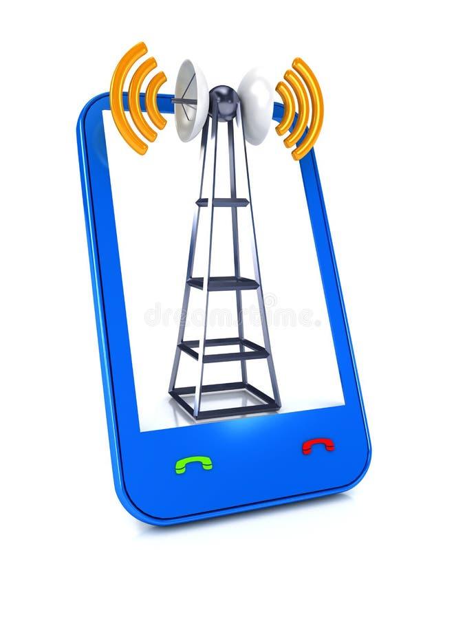Mobile Antenna Over White Stock Image