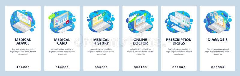 Mobile App-Bildschirme Online-ärztliche Beratung, Gesundheit und telemedizinische Icons, Patientenanamnese Vector vektor abbildung