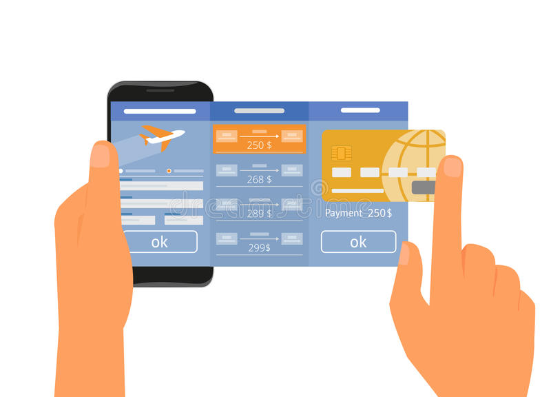 Mobile app for booking air passage. Human hand holds smartphone with mobile app for booking air passage. Text outlined stock illustration