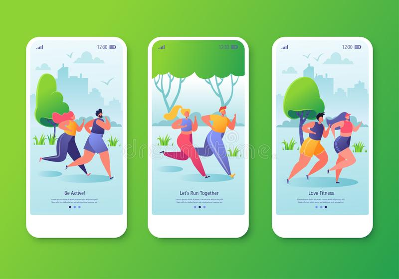 Healthy lifestyle concept for website or web page. Mobile app onboard screen page template set with fitness running characters stock illustration