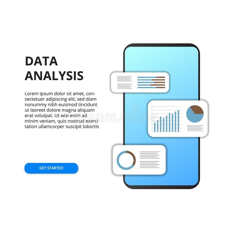 Mobile app data analysis from chart, graph, statistic for business, finance, report. From mobile app stock illustration