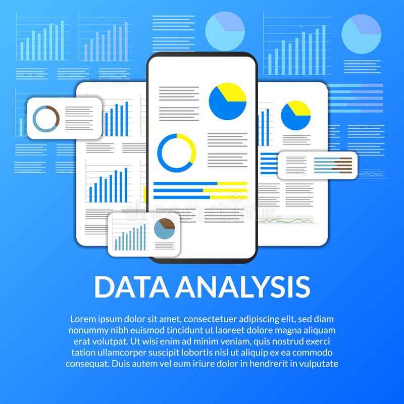 Mobile app data analysis from chart, graph, statistic for business, finance, report. From mobile app vector illustration