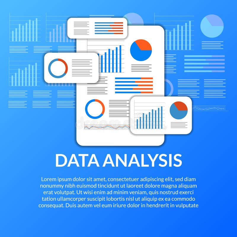 Mobile app data analysis from chart, graph, statistic for business, finance, report. Illustration concept royalty free illustration