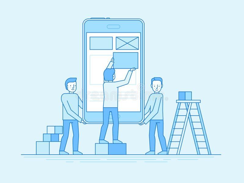 Mobile app design and user interface development concept. Vector illustration in trendy flat and linear style -mobile app design and user interface development stock illustration