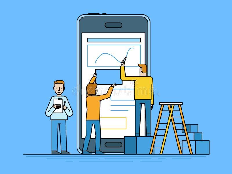 Mobile app design and user interface development concept. Vector illustration in trendy flat and linear style -mobile app design and user interface development vector illustration