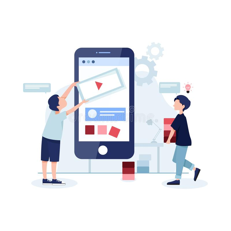 Mobile app development concept banner with characters. Can use for web banner, infographics, hero images. Flat illustration isolat stock photography