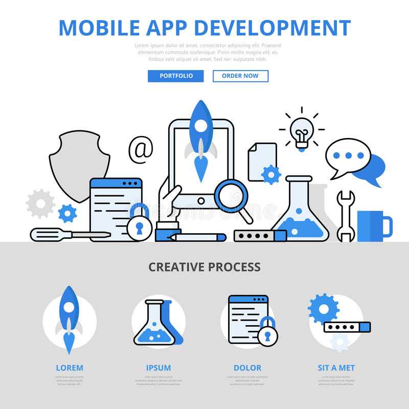Mobile app development concept flat line art vector icons banner stock illustration
