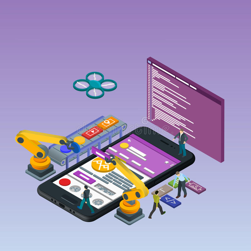 Mobile App Development, Experienced Team. Flat 3d isometric black phone. Manipulator robot robotized. stock illustration
