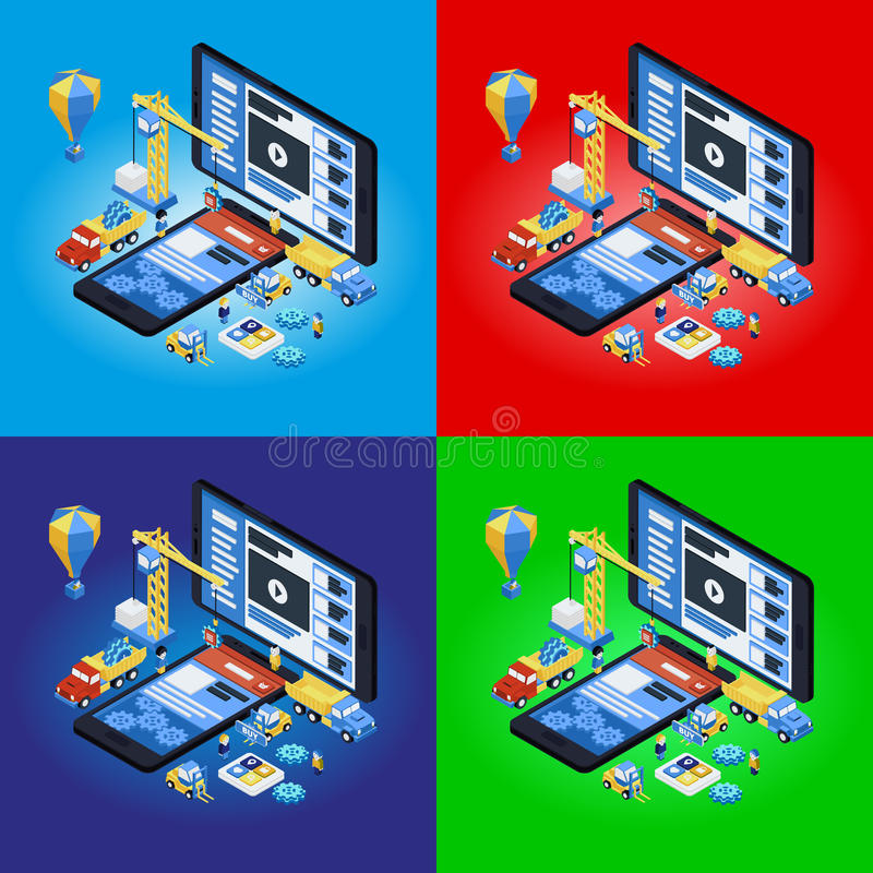 Mobile App Development, Experienced Team. Flat 3d isometric stock illustration