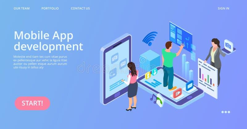 Mobile app development. Isometric interface development vector landing page stock illustration