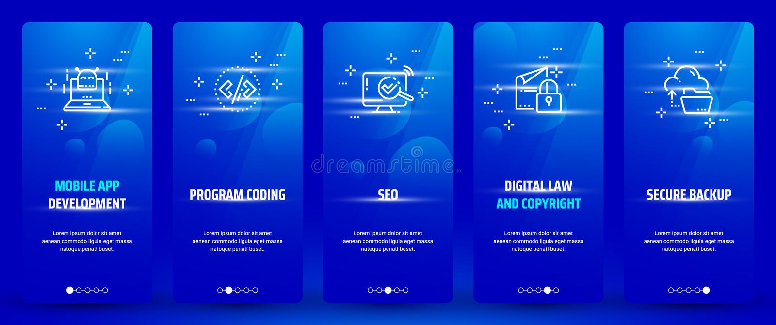 Mobile app development , Program coding, Seo, Digital law and copyright, Secure backup Vertical Cards with strong royalty free illustration