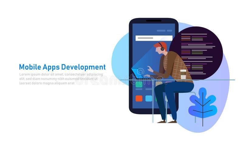 Mobile App Development, Programmer code on laptop. Smart phone application. Vector illustration. Flat royalty free illustration