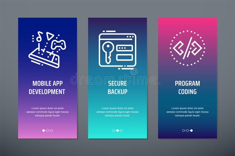 Mobile app development, Secure backup, Program coding Vertical Cards with strong metaphors. royalty free illustration