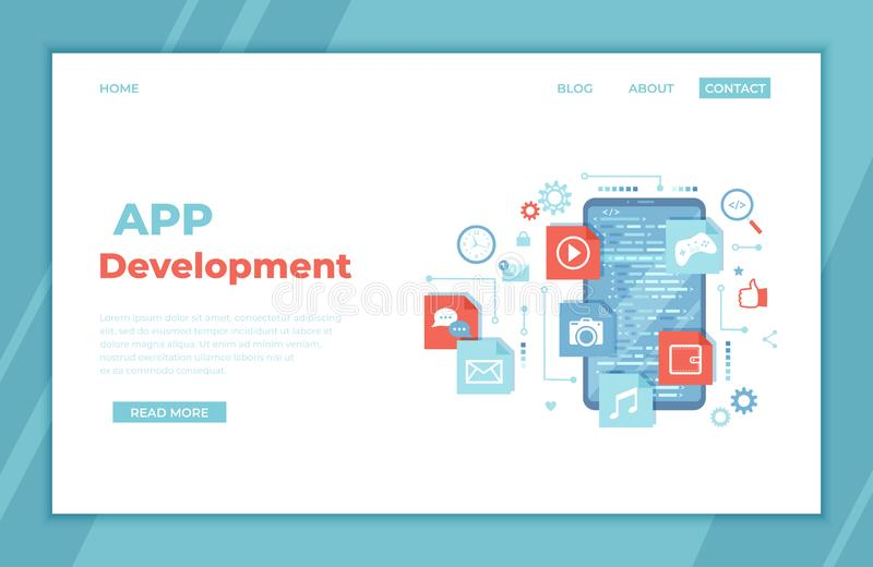 Mobile App Development, Software Management, Ui, Ux Development. Phone screen with program code, mobile app icons. landing page. Template or web banner vector illustration
