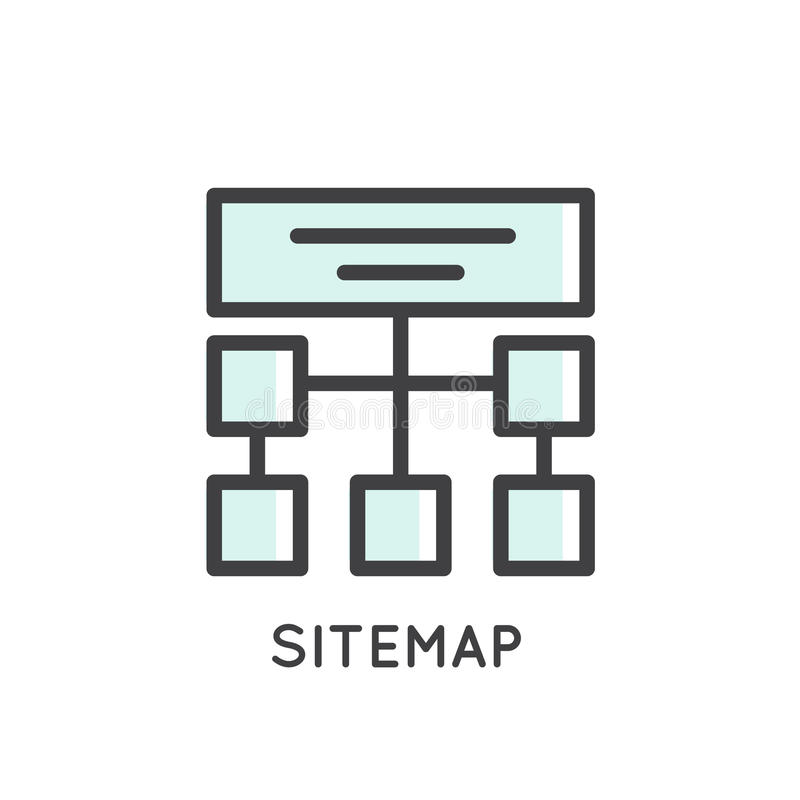 Mobile and App Development tools and processes, Sitemap, Hosting, Structure royalty free illustration