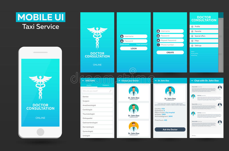 Mobile app Doctor consultation online Material Design UI, UX, GUI. Responsive website. royalty free illustration