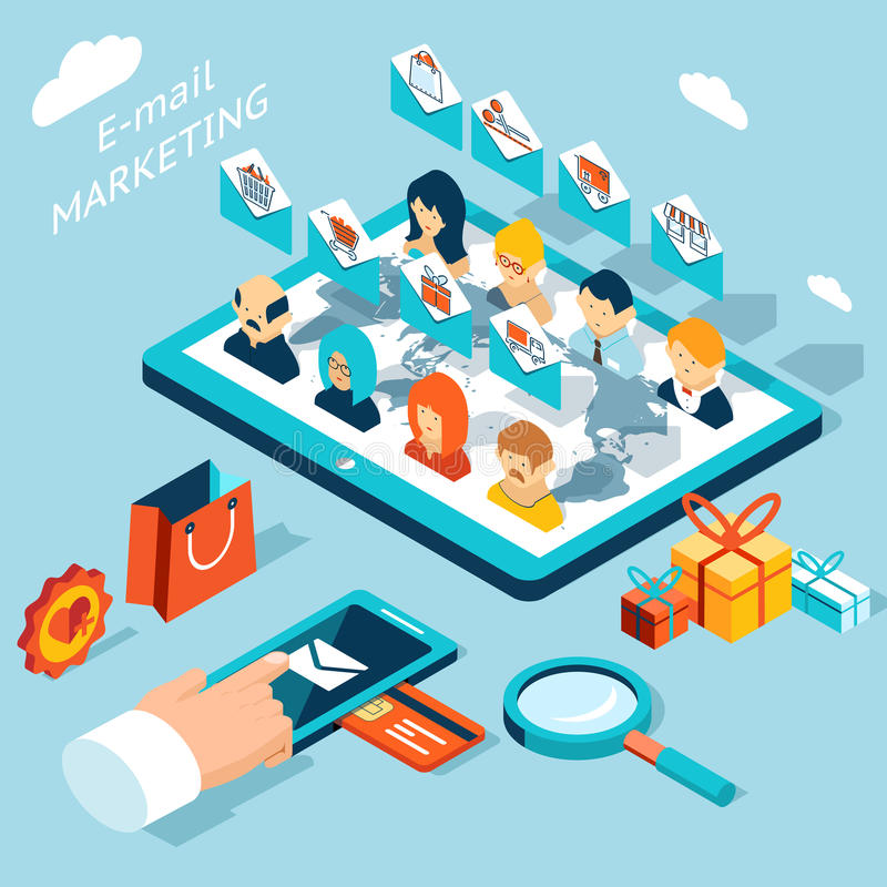 Mobile app for email marketing. Manage mailing. From your smartphone or tablet pc. Technology development, social and envelope, buy market, vector illustration royalty free illustration