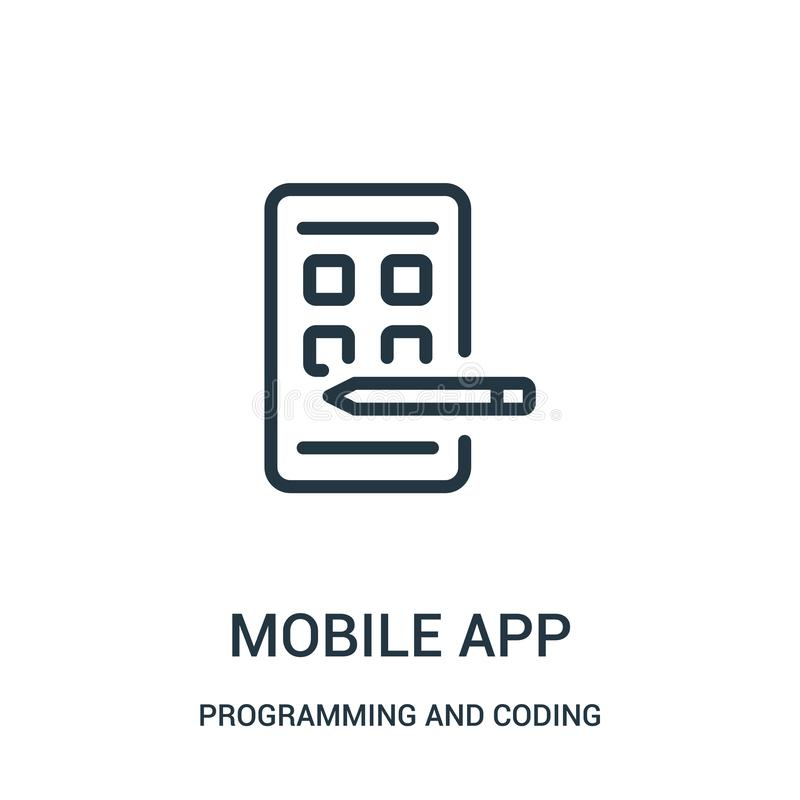 Mobile app icon vector from programming and coding collection. Thin line mobile app outline icon vector illustration. Linear symbol for use on web and mobile royalty free illustration