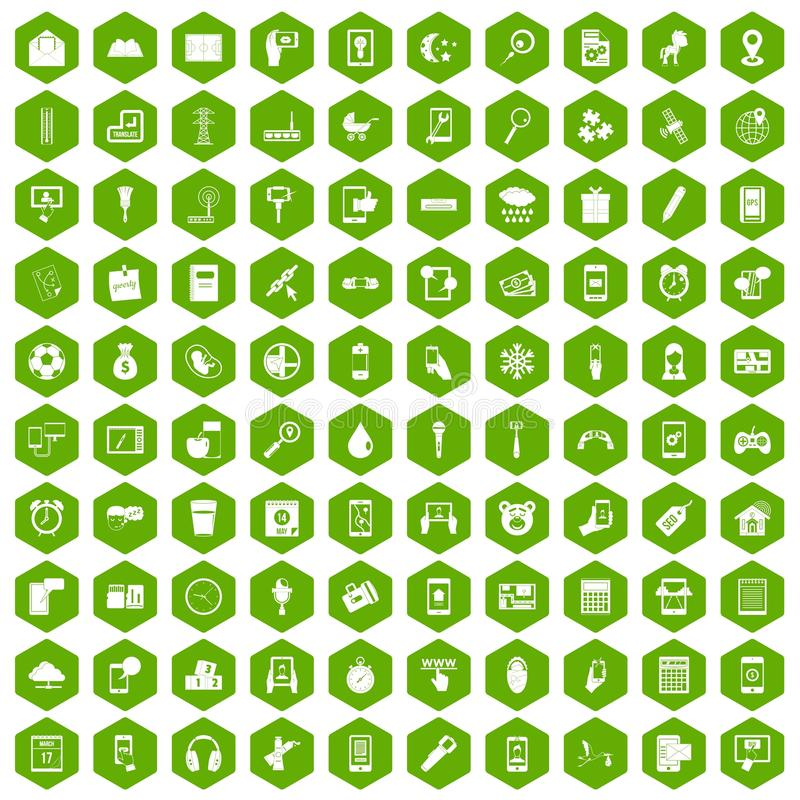 100 mobile app icons hexagon green. 100 mobile app icons set in green hexagon isolated vector illustration stock illustration