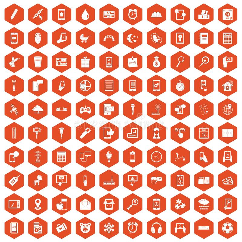 100 mobile app icons hexagon orange. 100 mobile app icons set in orange hexagon isolated vector illustration royalty free illustration