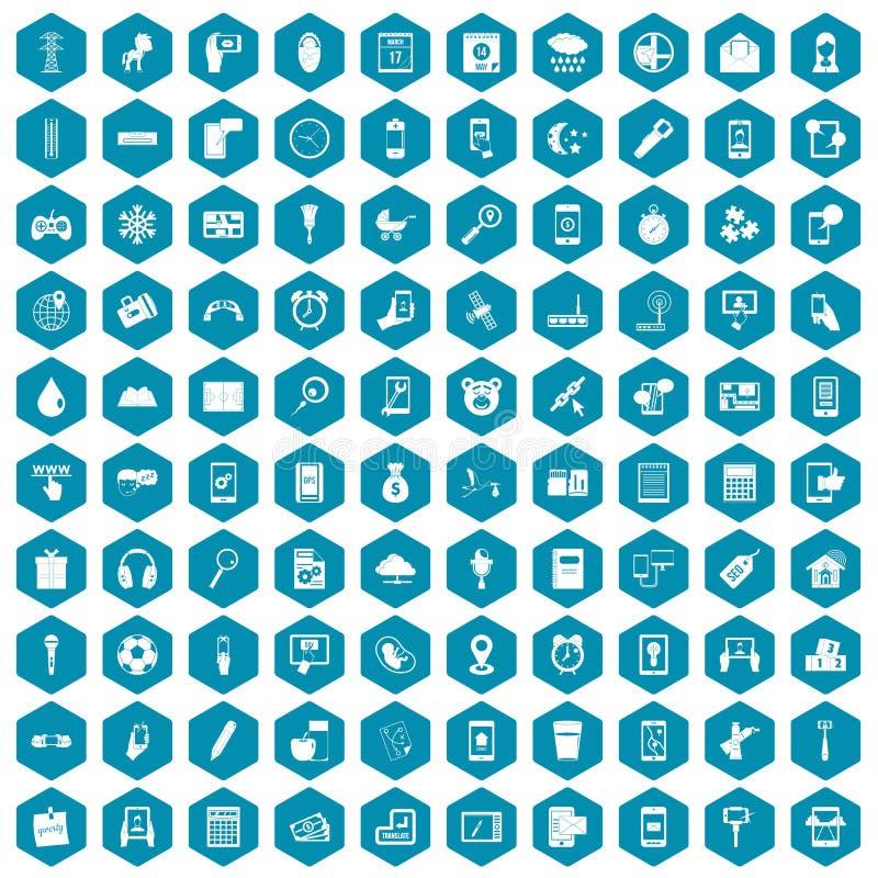 100 mobile app icons sapphirine violet. 100 mobile app icons set in sapphirine hexagon isolated vector illustration stock illustration