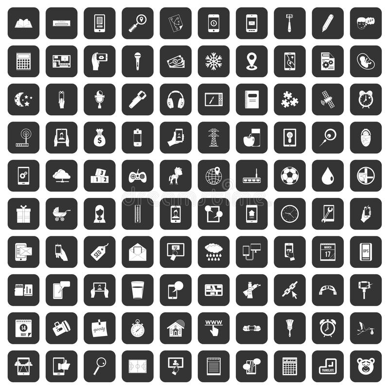 100 mobile app icons set black. 100 mobile app icons set in black color isolated vector illustration royalty free illustration
