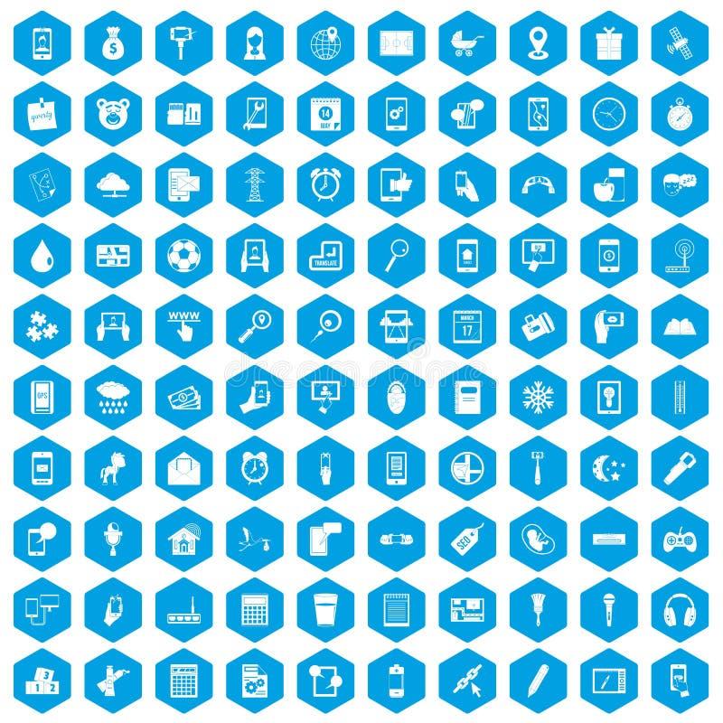 100 mobile app icons set blue. 100 mobile app icons set in blue hexagon isolated vector illustration stock illustration