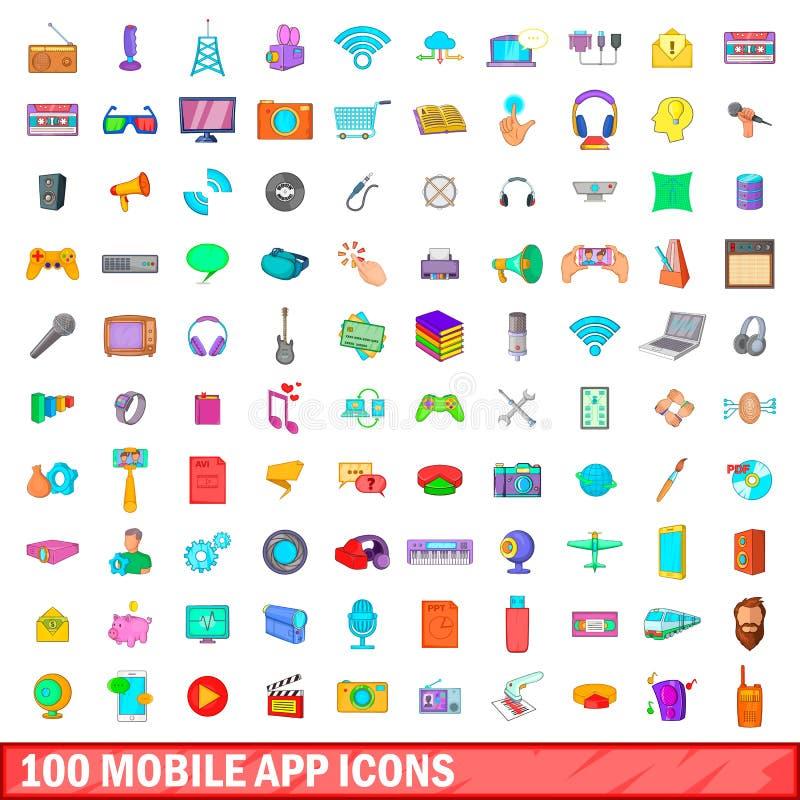 100 mobile app icons set, cartoon style royalty free illustration