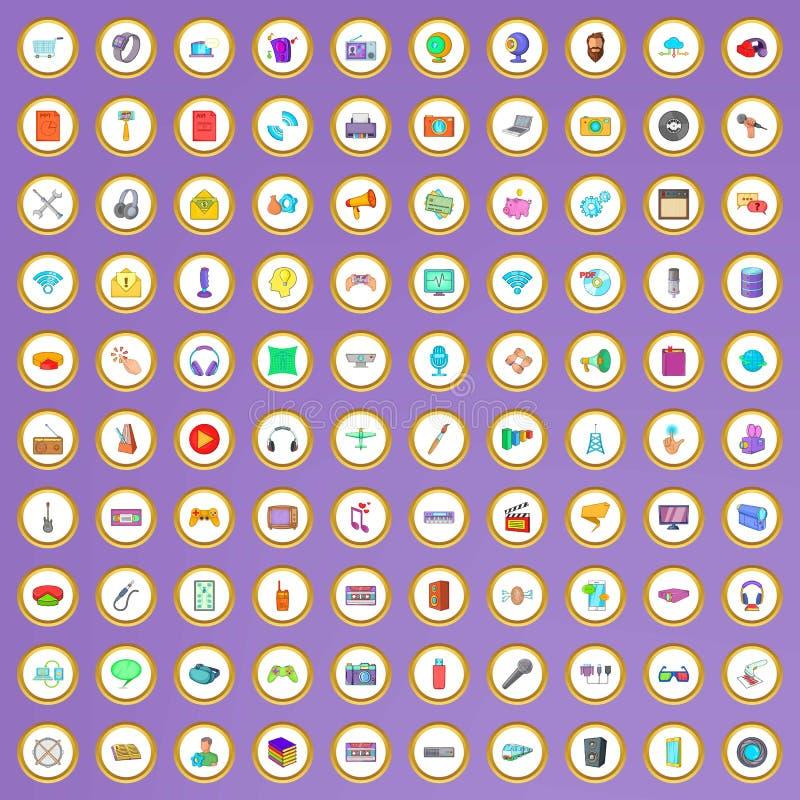 100 mobile app icons set in cartoon style. On purple background vector illustration stock illustration