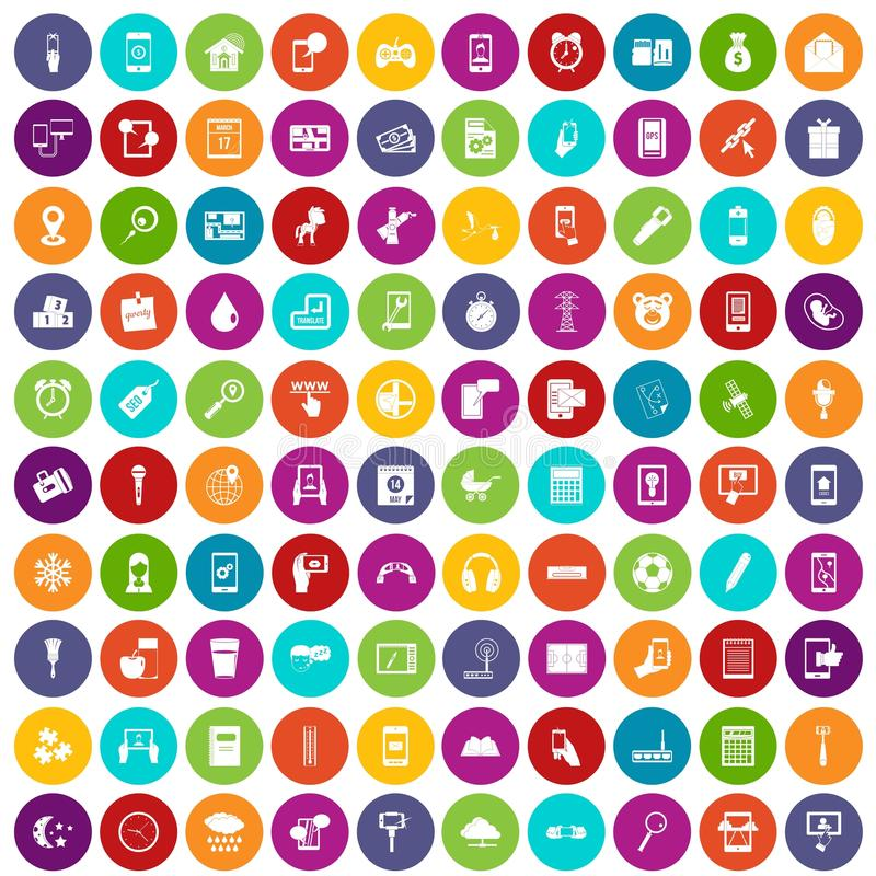 100 mobile app icons set color. 100 mobile app icons set in different colors circle isolated vector illustration stock illustration