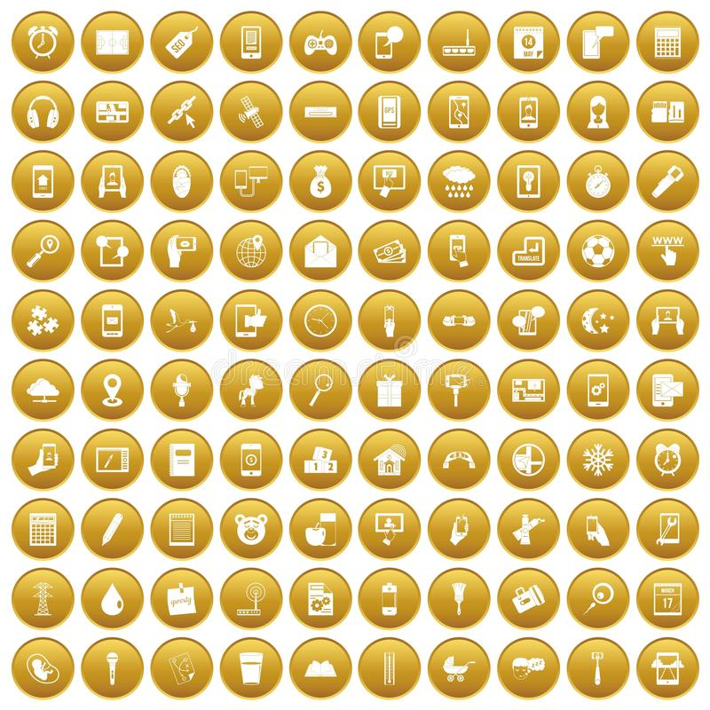 100 mobile app icons set gold. 100 mobile app icons set in gold circle isolated on white vector illustration royalty free illustration