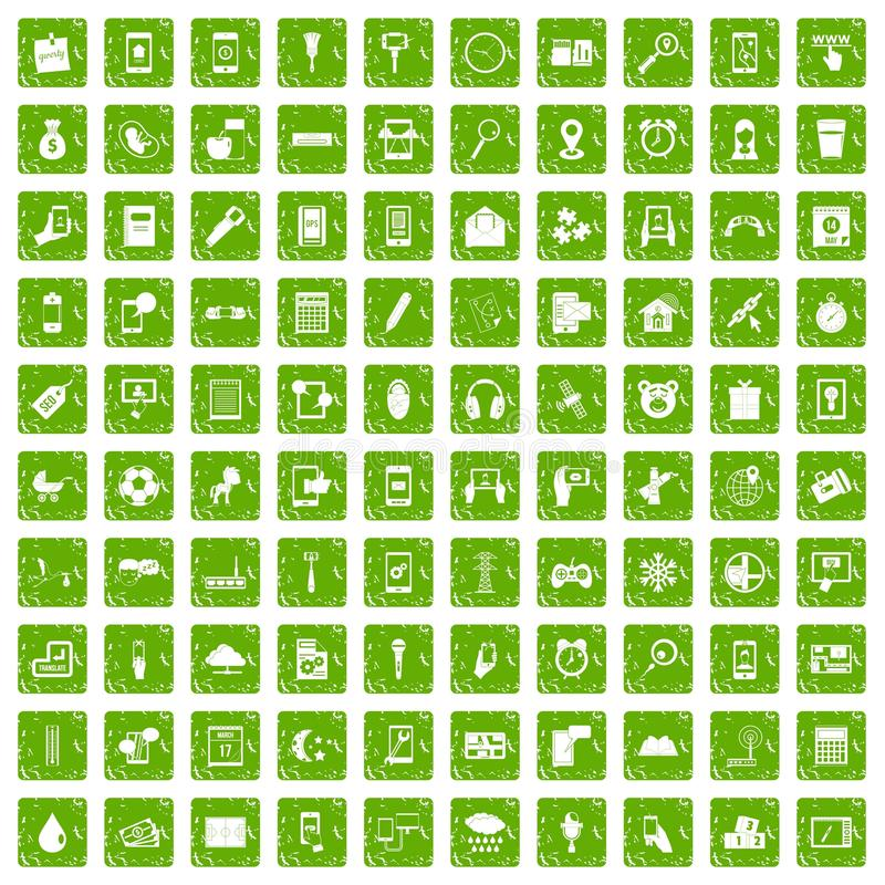 100 mobile app icons set grunge green. 100 mobile app icons set in grunge style green color isolated on white background vector illustration stock illustration