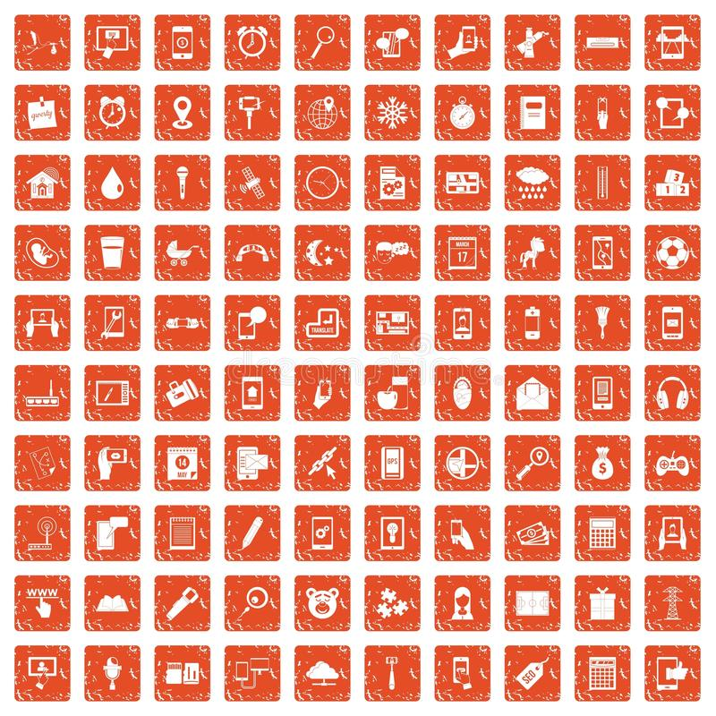 100 mobile app icons set grunge orange. 100 mobile app icons set in grunge style orange color isolated on white background vector illustration vector illustration