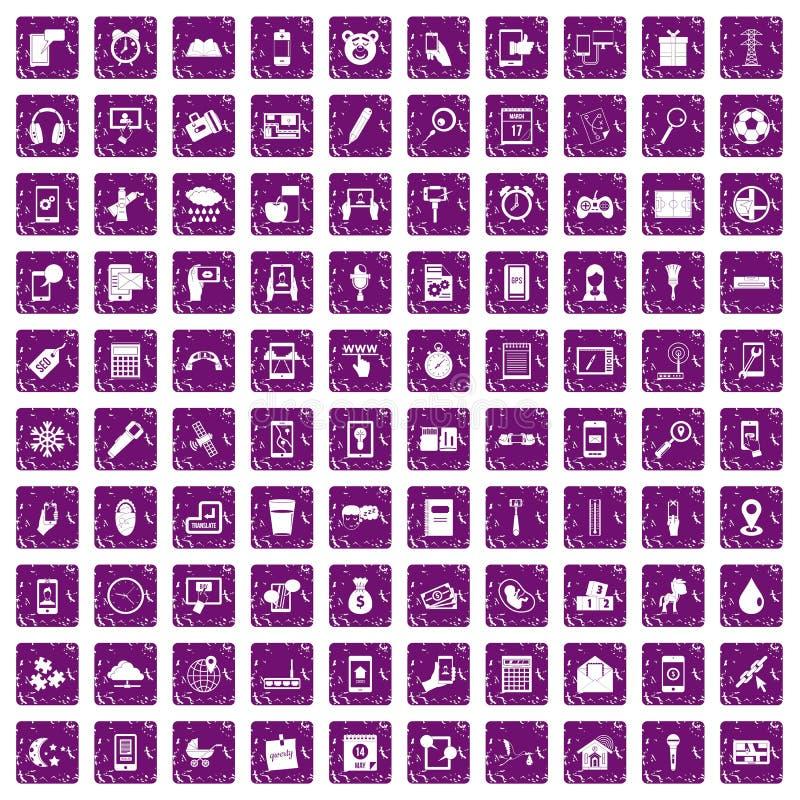 100 mobile app icons set grunge purple. 100 mobile app icons set in grunge style purple color isolated on white background vector illustration vector illustration
