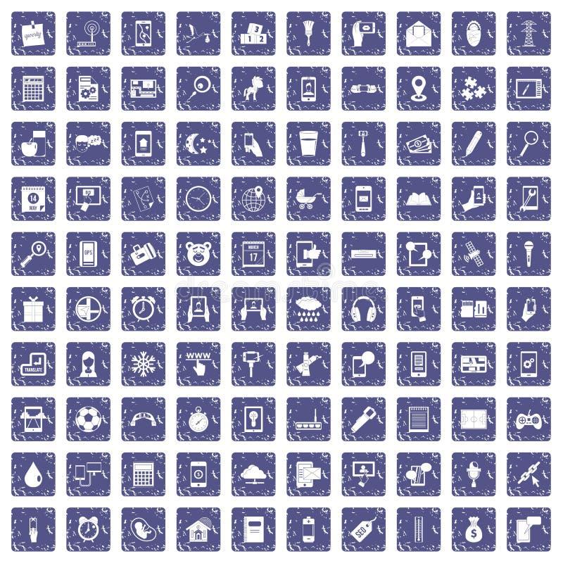 100 mobile app icons set grunge sapphire. 100 mobile app icons set in grunge style sapphire color isolated on white background vector illustration royalty free illustration