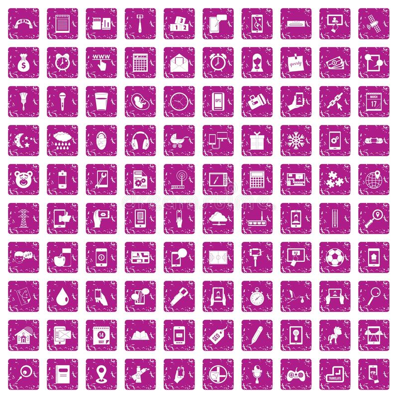 100 mobile app icons set grunge pink. 100 mobile app icons set in grunge style pink color isolated on white background vector illustration stock illustration