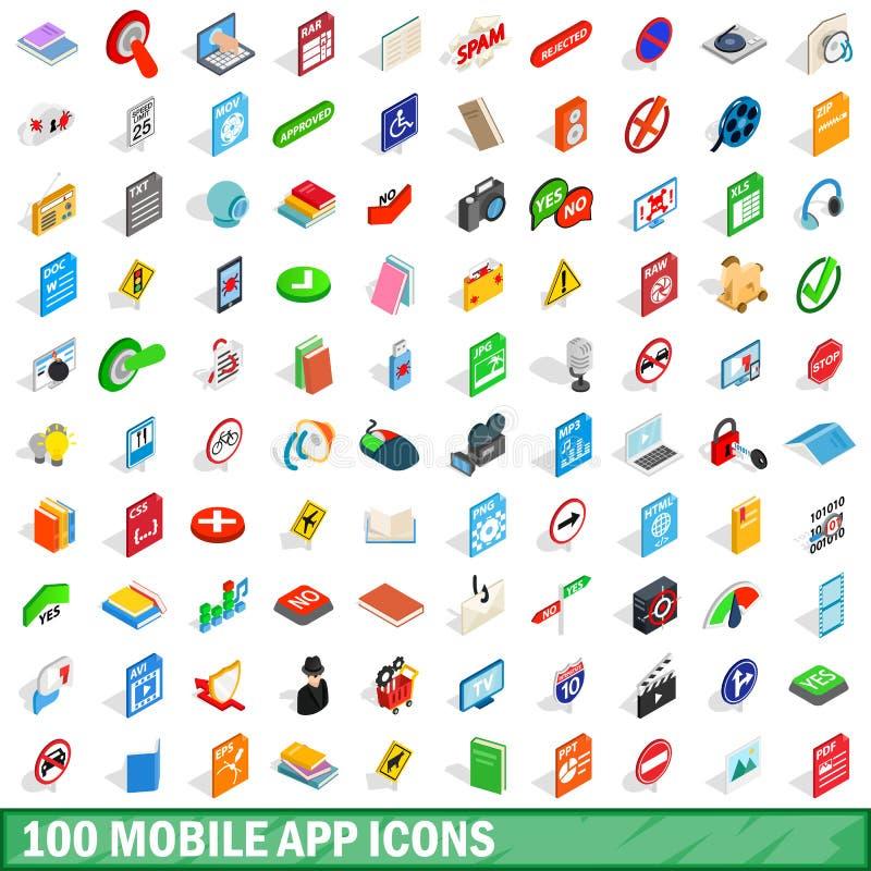 100 mobile app icons set, isometric 3d style. 100 mobile app icons set in isometric 3d style for any design vector illustration stock illustration