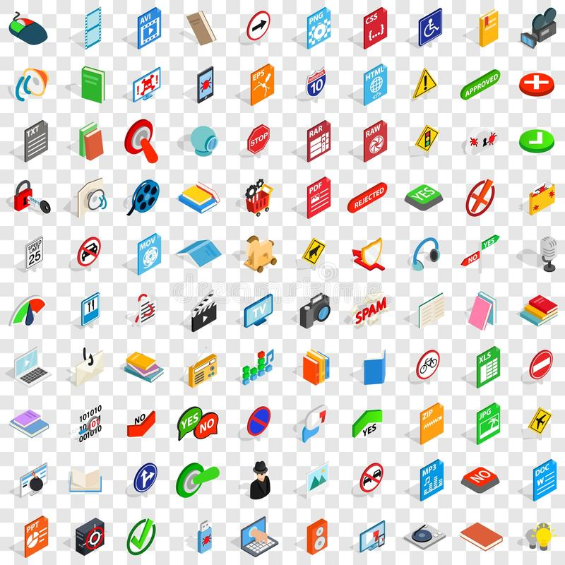 100 mobile app icons set, isometric 3d style. 100 mobile app icons set in isometric 3d style for any design vector illustration vector illustration