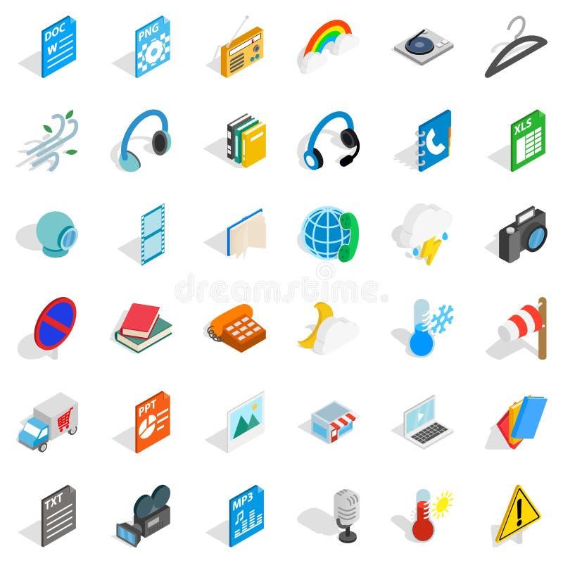 Mobile app icons set, isometric style. Mobile app icons set. Isometric style of 36 mobile app vector icons for web isolated on white background stock illustration